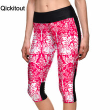 Qickitout Capri Pants 2016 New Sexy Women's 7 Point Pant Pink Tree Rabbit Digital Print Women High Waist Side Pocket Phone Pants(China)