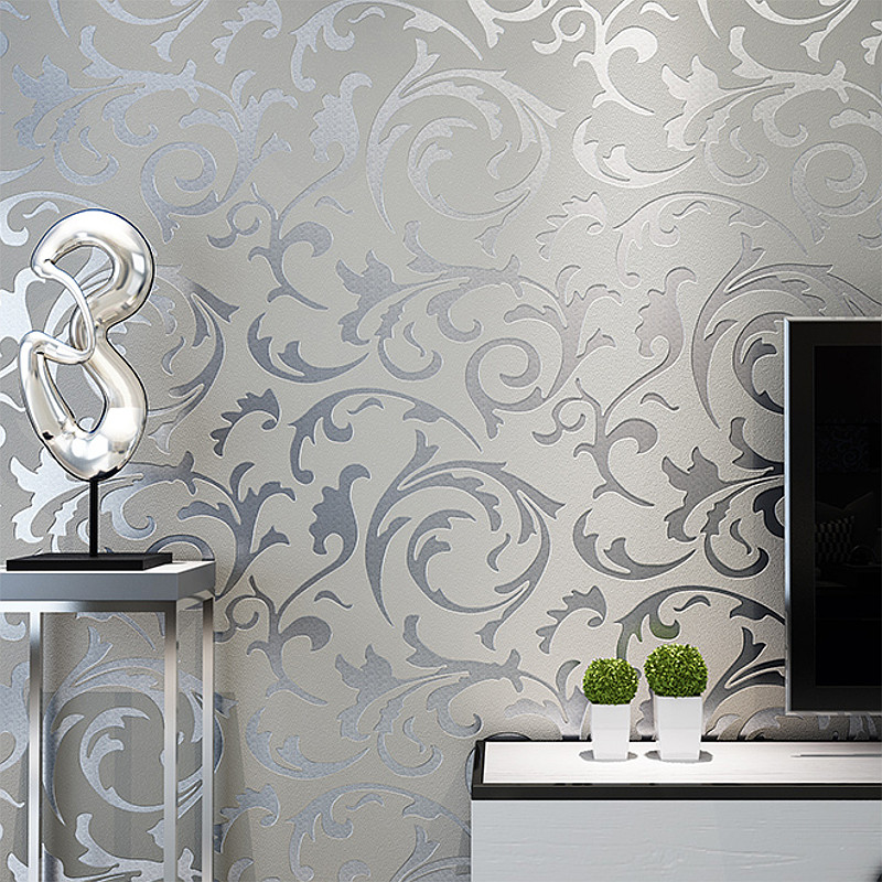Wall-Coverings Home-Decor Bedroom Living-Room Damask Silver Floral Victorian Luxury Roll