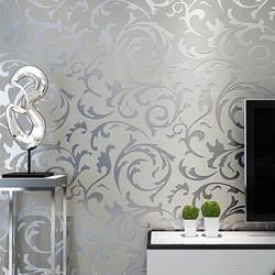 Серый 3D Викторианский Дамаск рулон тисненых обоев домашний Декор Гостиная спальня настенные покрытия серебро цветочный роскошный обои