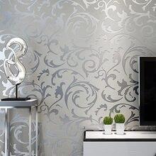 Grau 3D Viktorianischen Damast Geprägte Tapete Rolle Wohnkultur Wohnzimmer Schlafzimmer Wand Beläge Silber Floral Luxus Wand Papier