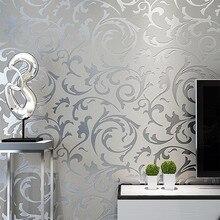 Gris 3D victorien damassé en relief papier peint rouleau décor à la maison salon chambre revêtements muraux argent Floral luxe papier peint