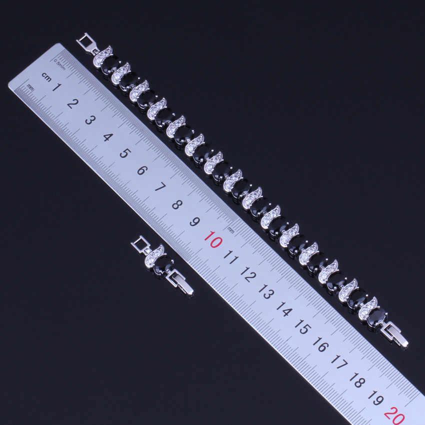 โรแมนติกไข่รูปไข่สีดำ Cubic Zirconia สีขาว CZ 925 สร้อยข้อมือเงิน 18 ซม. 20 ซม. สำหรับสตรี v0060