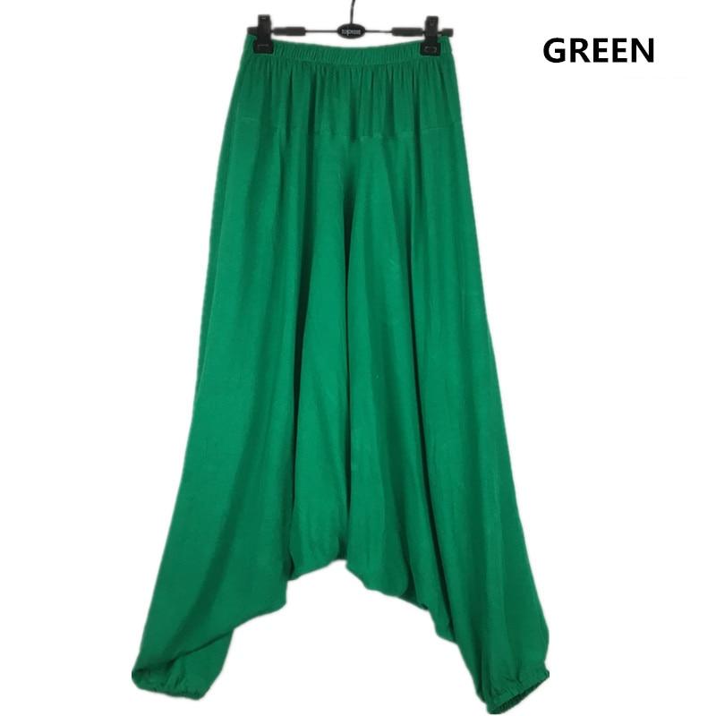 Image 3 - 2019 Spring women Casual Loose  Harem Pants Solid Elastic Waist Summer Wide Leg Pants Plus Size Cotton linen Trousers M 4XL 5XL-in Pants & Capris from Women's Clothing