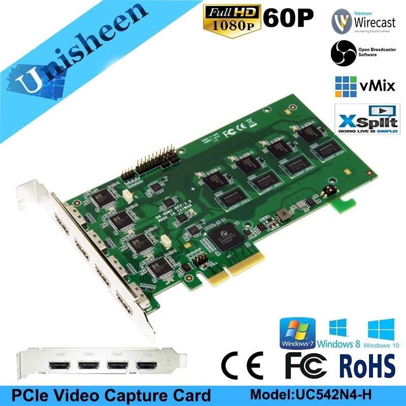 Tarjeta de captura de vídeo PCI Express HD 1080 p-4 canales HDMI en tiempo Real