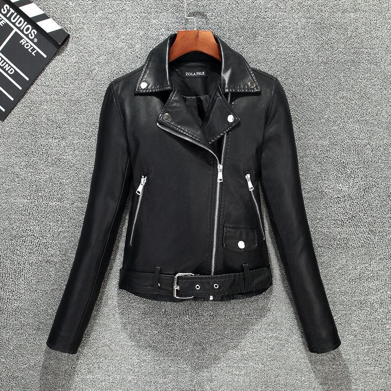 2019 new spring and autumn women   leather   jacket Slim short coat women clothing jackets fashion plus size female outerwear black
