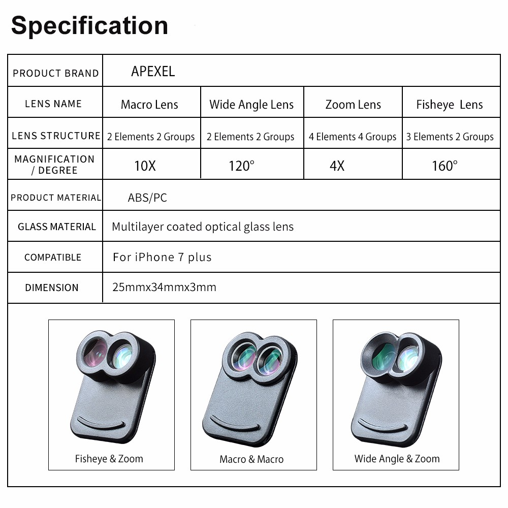 APEXEL Dual Lens fisheye wide angle macro telescope camera lens kit with back case For iPhone 7 plus 14