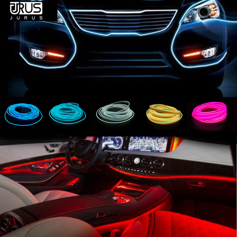 JURUS 2018 New 2pcs 1m/2m/3meter Flexible Neon Lights Glow El Wire 12V Flat Auto Led Strip Car Light Car-styling Free Shipping