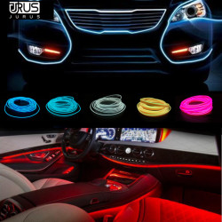 JURUS 2Pcs 1M/2M/3Meter Flexible Neon Light Glow El Wire Rope Tube Line 12V Auto Decoration Car Light Led Strip Lamp Car Styling