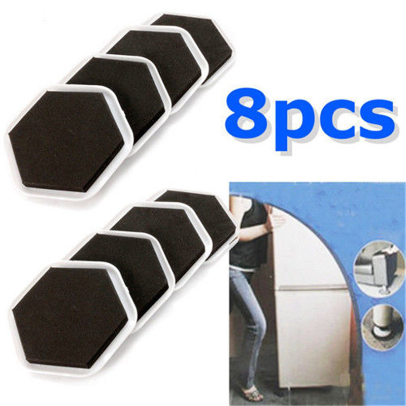 8Pcs Magic Mover Moving Sliders Pads Furniture Gliders Carpet Flooring Coaster