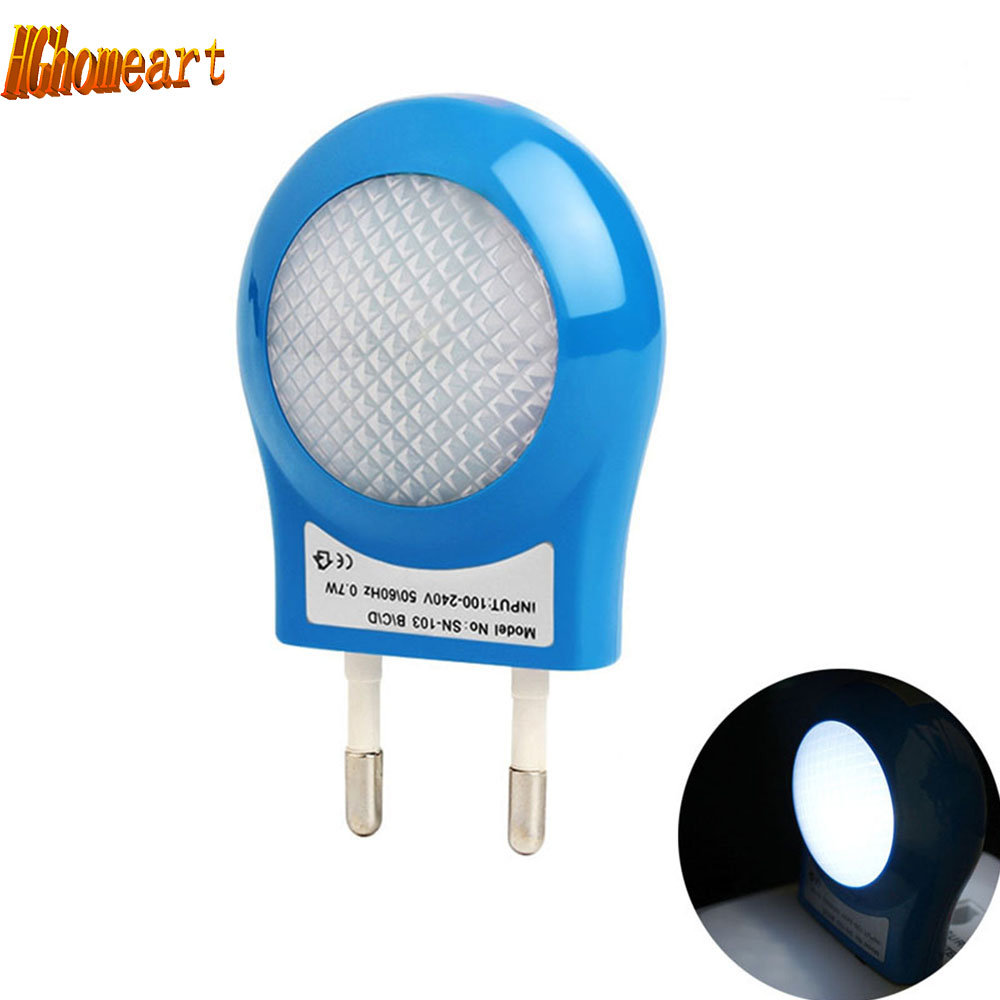 Mini night led light AC110V-220V 0.7W night light Control Auto sensor baby room led sensor light  EU Plug Night lamp