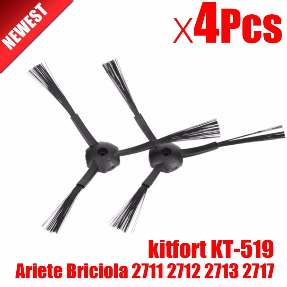 4Pcs Side Brush Replacement For Kitfort 503  Ariete Briciola 2711 2712 2713 2717 Ilife V7s Robot Vacuum Cleaner Robotisc Parts