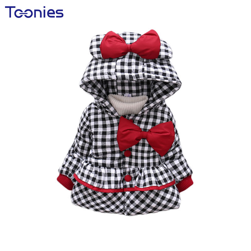Plaid Girl Coats Thicken Cotton Children Trench Coat Cute Bow Hooded Warm Jacket Baby Girl's Outwear 2017 Winter Toddler Jackets