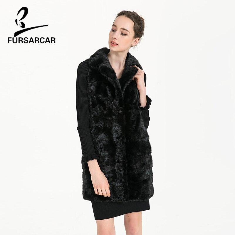 Manteau Véritable Vison Réel Sans Fourrure Complet Pelt Noir Gilet Gilets Bf Mince Plus Black 5xl Taille Fursarcar c0461 Moyen De Manches pqv840vx