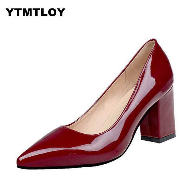 2019 HOT Women Shoes Pointed Toe Pumps Patent Leather Dress  High Heels Boat Shoes Wedding Shoes Zapatos Mujer Blue White 13