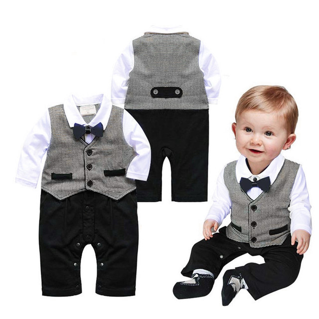 Toddler Baby Boy Long sleeves Plaid Vest Tie Outfits Kid Clothes Romper Jumpsuit Baby Clothes Set enxoval Gentleman Clothes Suit