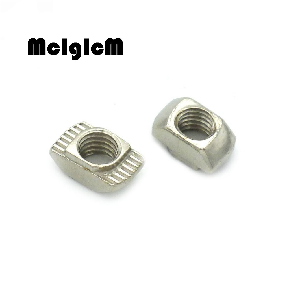 25Pcs T nut M3/M4/M5*10*6 For 20 Series Slot Sliding T Nut Hammer Drop In Nut Fasteners Connector 2020 Aluminum Extrusions 10pcs m3 round aluminum alloy long nut studs standoffs fastener 8 10 15 20 25 30 35mm