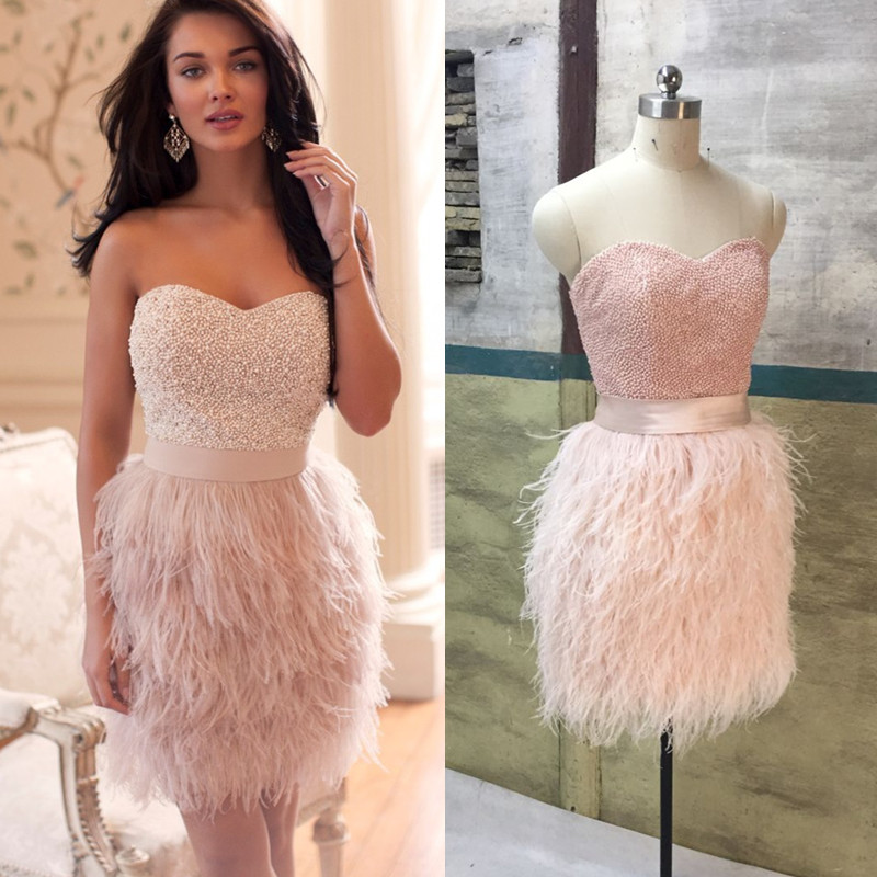 short prom dress luxury ostrich feathers beaded wi