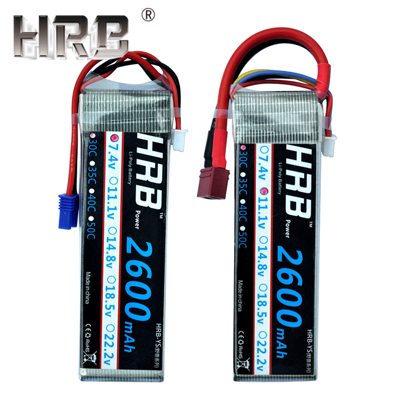 HRB 2600mAh Lipo Battery 7.4V 11.1V EC2 2S 3S 30C T Deans 14.8V 18.5V 22.2V 3.7V 4S 5S 6S For Airplanes Cars FPV Drone RC Parts