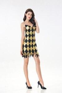 Image 3 - セクシーな衣装コスプレハーレークインドレス大人レディースガールズハロウィンカーニバルパーティー衣装ドレスとかつら