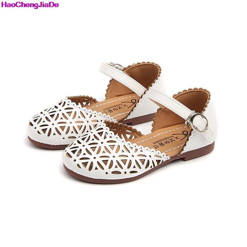 HaoChengJiaDe Children Shoes Girls Sandals 2018 Summer Fashion Cutout Princess Girls Flat Soft Closed Toe Kids Sandal Girls Shoe