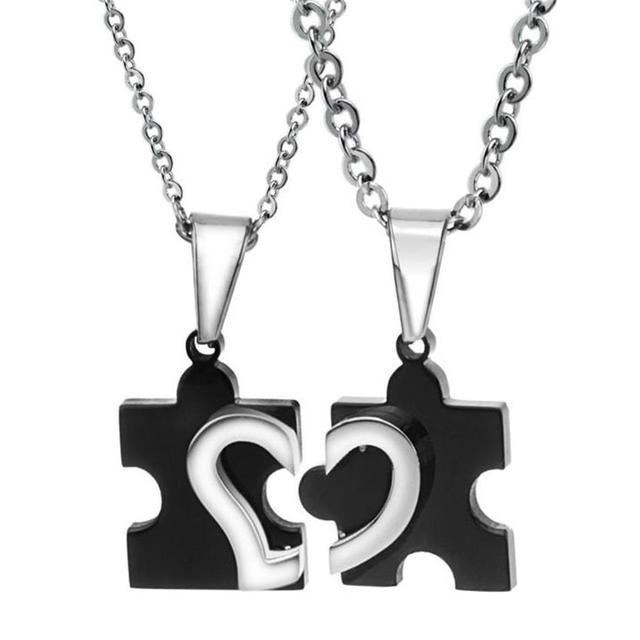 Matching 2 polished stainless steel heart puzzle piece pendant matching 2 polished stainless steel heart puzzle piece pendant birthday jewelry gifts for couples best friends aloadofball Gallery