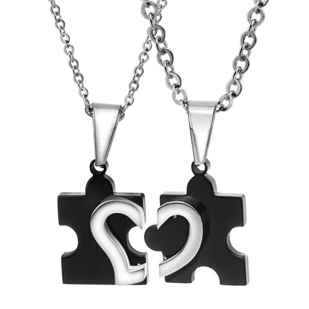 Matching 2 Polished Stainless Steel Heart Puzzle Piece Pendant Birthday Jewelry Gifts for Couples Best Friends Dropshipping image