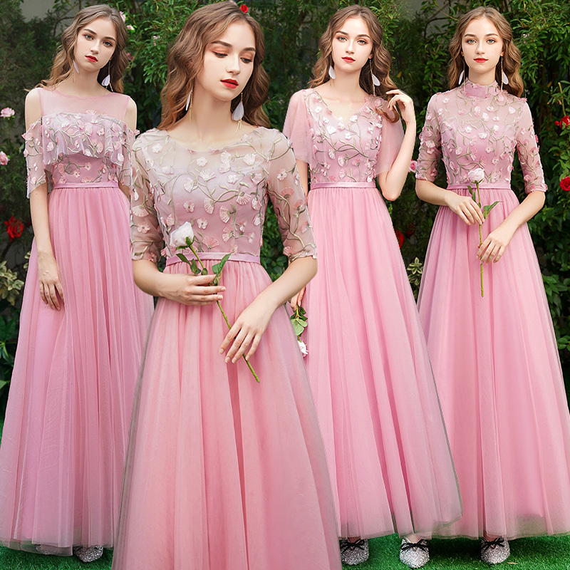 Beauty Emily Long Grey Bridesmaid Dresses 2019 for Women Sweep Train Vestidos Para Festa A-line  Wedding Party Prom Dress