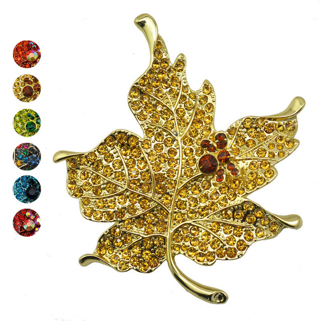 f03f5f860 New Style Multi Color Rhinestone Maple Leaf Brooch Pin Vintage Plant Brooch  Jewelry for Wedding Party M8694