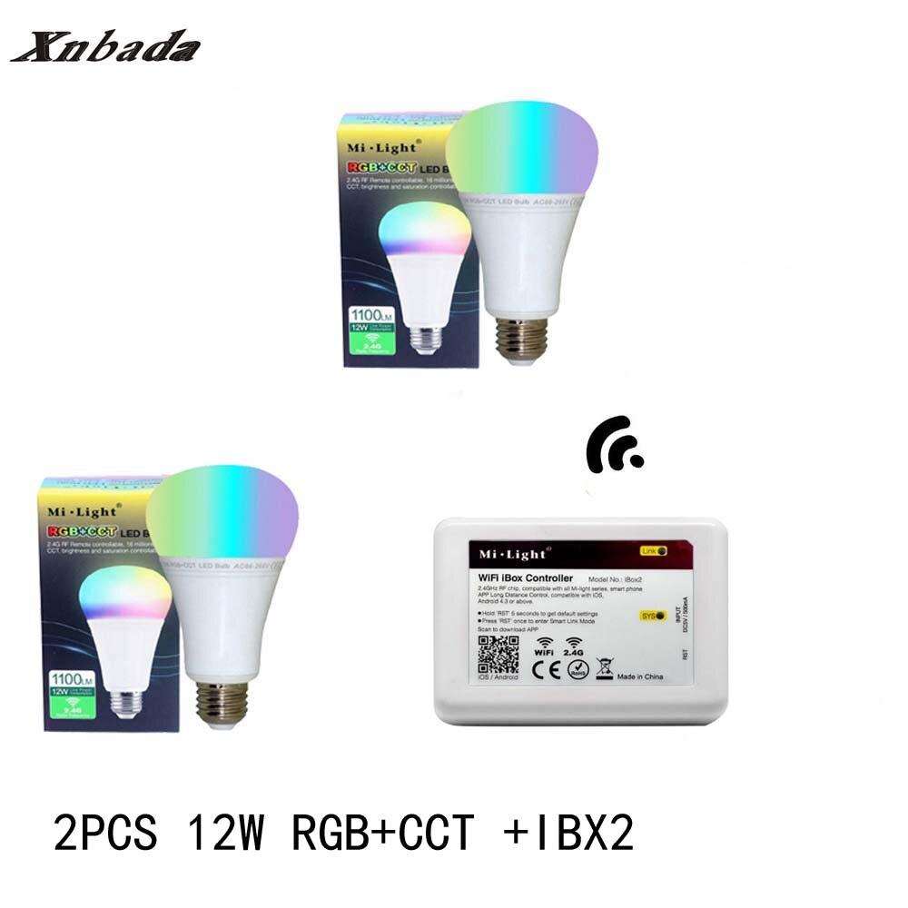 Mi lumière 12 W lampe à Led E27 RGB + CCT Led ampoule + iBX2 RF télécommande wifi Led projecteur lumière variateur Led lumière AC85-265V livraison gratuite - 3