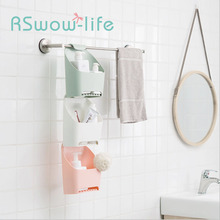Stackable Bathroom Storage Box Drain-free Punching Toilet Rack Towel Hanging Basket Family Supplies