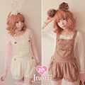 Princess sweet lolita shorts Love bobon21 hair ball soft plush warm thick ivry white coffee brown overall shorts bib pants b0925