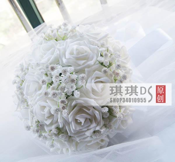 2017 Jardín Romántico Nupcial FlowersBouquets Artificial Rose Flores Hechas A Mano de dama de Honor Nupcial Accessoty