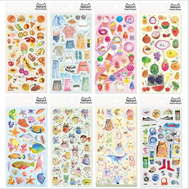 Watercolor print stickers fruit clothing animals diary decoration stationery stickers diy scrapbook album label