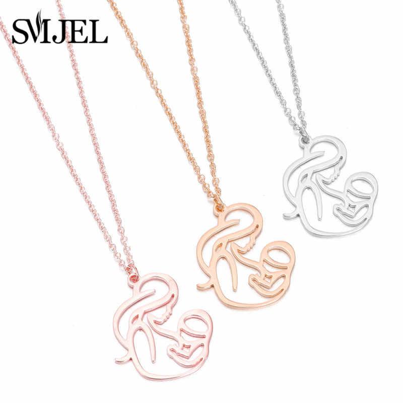 Smjel nuevo familia bebé collares de acero inoxidable para mujeres de moda collar de la mamá Collier joyería de la Madre Día regalo dropshipping