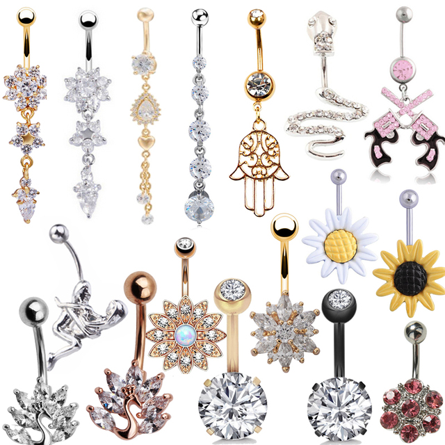 Sexy Dangling Navel Belly Button Rings Belly Piercing Crystal Surgical Steel 14g Woman Body Jewelry