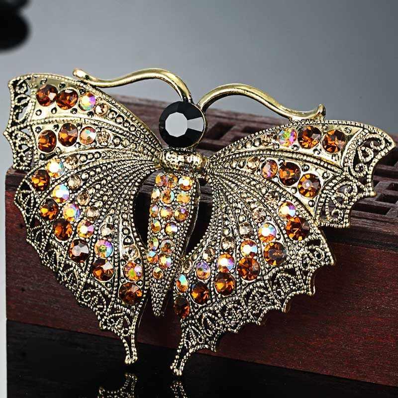 Vintage Kupu-kupu Bros Untuk Hadiah Pesta Wanita Colares Berlian Imitasi Bros Bouquet Hijau serangga Aksesoris Jilbab Pin Syal