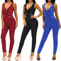 2016 Summer Elegant Womens Rompers Jumpsuit Casual Solid Party V-neck Embellished Bodysuit Sleeveless Crew Neck Long Playsuits