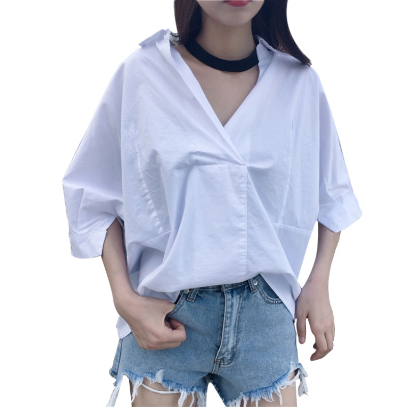 Summer Women Blouses Women Batwing Sleeve Tops Loose V-neck Tops Plus Size Shirt