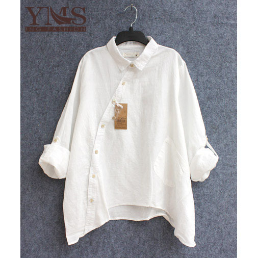 Womens Cotton Blouse Long-Sleeve Shirt 2015 Spring...