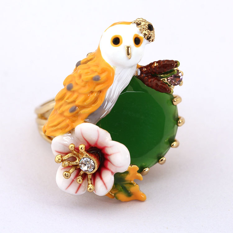France Dyxytwe Owl Animal Rings For Women Elegant Noble Unique Flower Ring Brand Jewelry