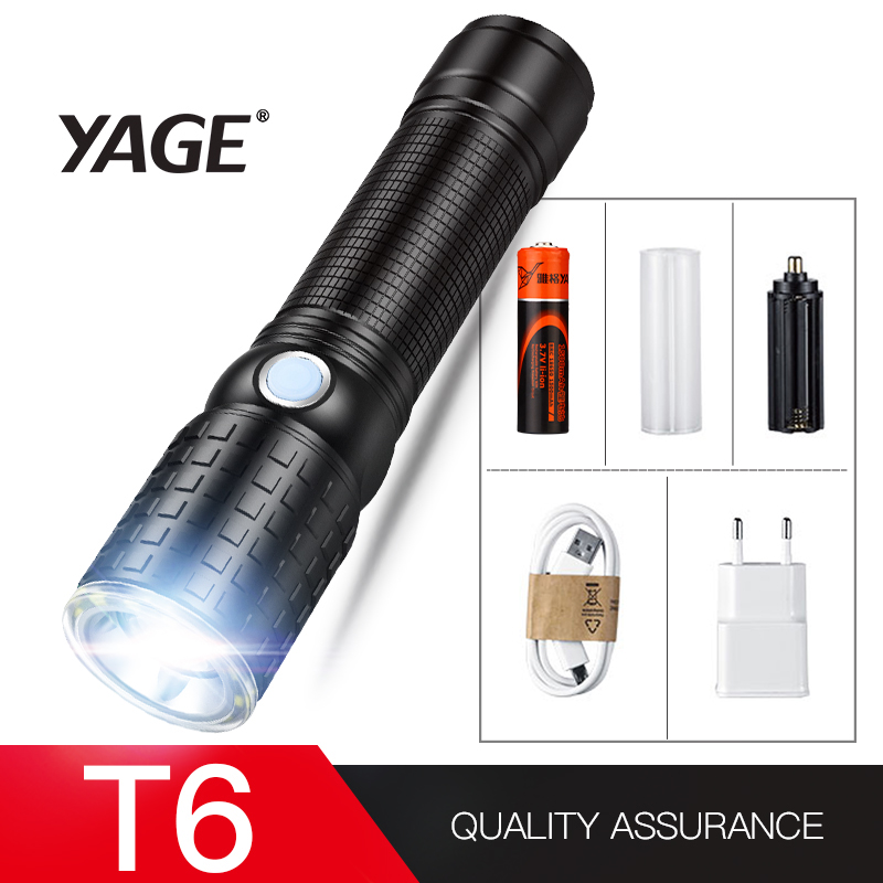 YAGE 341C Flashlight T6 2000LM Aluminum Zoom CREE LED Flashlight 18650 Lamp 6-Modes USB Tactical Torch Light (18650 Battery in) диск алм hammer flex 206 142 db sg proff 125x22мм сегментный профи