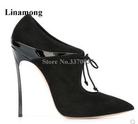 Linamong Brand Pointed Toe Lace up Metal Stiletto Heel Short Boots Cut out 12cm Super High Heel Ankle Booties Club Shoes