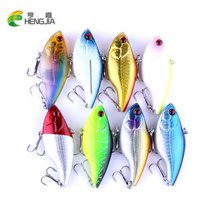 8pcs/lot Vibration Fishing lures 7.5cm/18g 6# hook Multi colors VIB Plastic Hard Bait Vibe Rattle Hooks Crankbaits