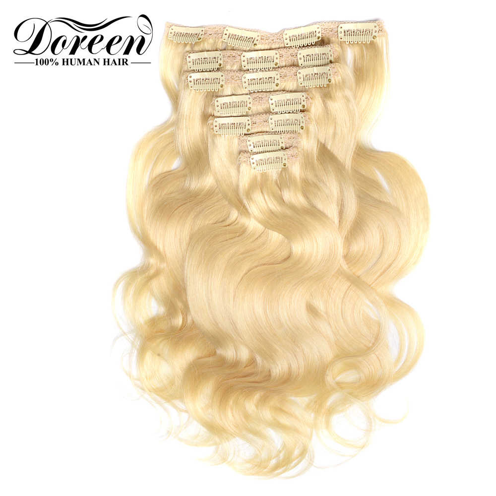 "Doreen Full Head European Machine Made Remy Hair 120G 160G 200G 14""to 24"" Body Wavy Clip In Human Hair Extensions  Hairpieces"