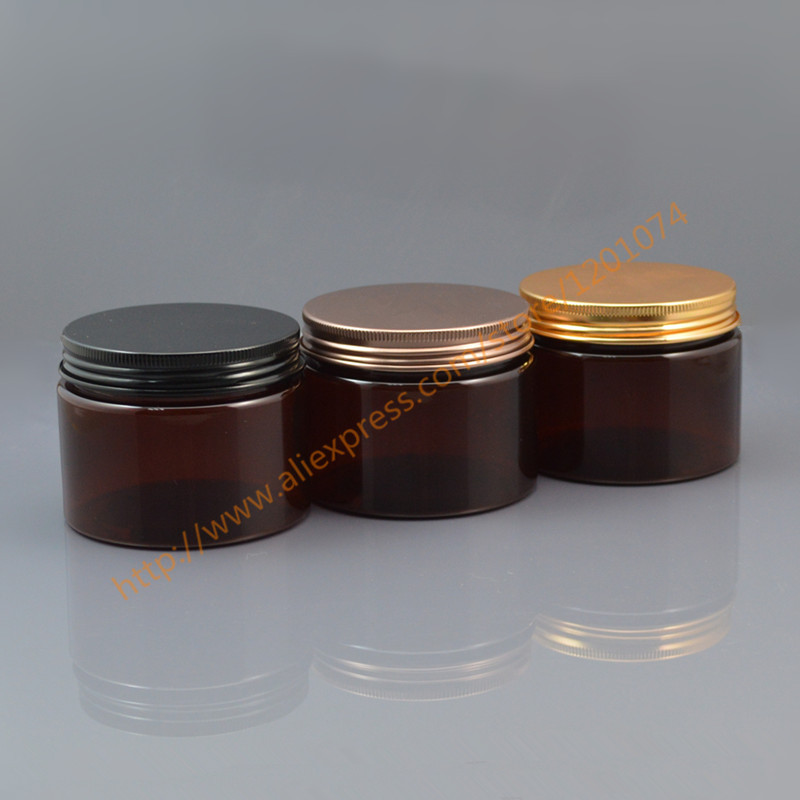 Cosmetic packaging 150g brown amber plastic bottle PET Cream jar 150ml Food pot with black gold