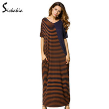 Siskakia Summer 2017 T shirt Dress Coffee and Blue striped Color Block patchwork V-neck Tee Dress loose casual straight robes