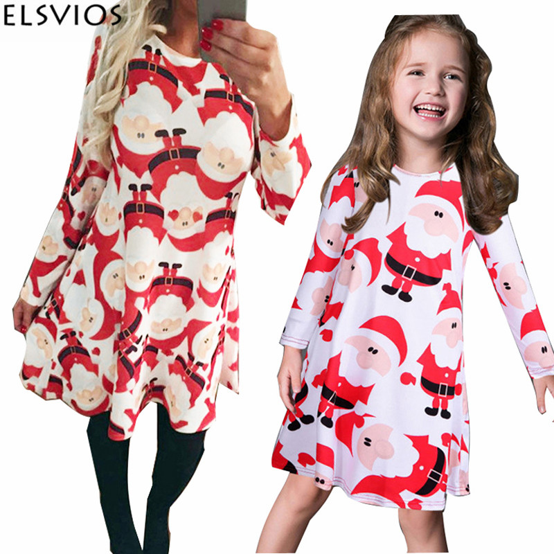 ELSVIOS 5XL Christmas Women Dress Snowman Snowflake Print Santa Claus Christmas Dress Casual O Neck Long Sleeve New Year Dresses