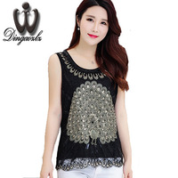 High Quality Summer New Plus Size Vest Tops Female Sleeveless Lace Embroidery Blouse Slim Sequin Women