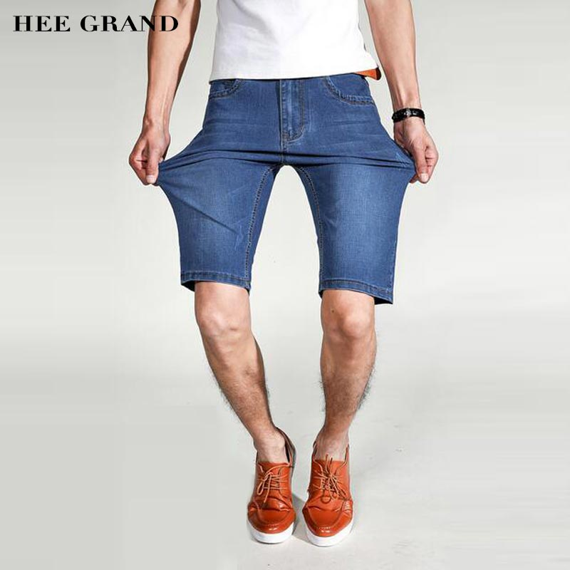 HEE GRAND Demin Shorts For Men 2017 New Arrival Breathable Knee-length Fashion Loose Summer Jean Shorts Plus Size 28-40 MKN925 hee grand men classic jeans 2017 new arrival straight design high elasticity slim fitted demin trousers plus size 28 42 mkn984