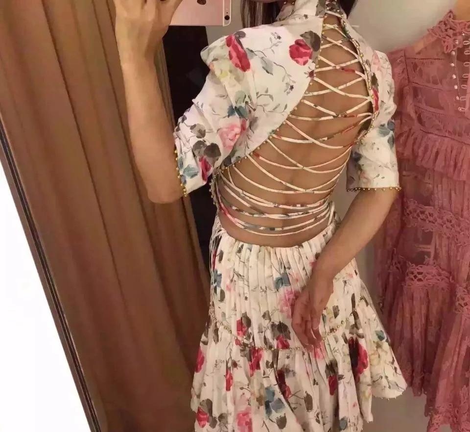 summer brand luxury dress women bleading print dress